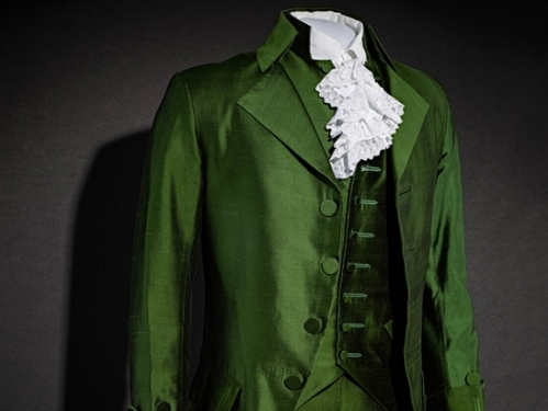 "Green silk costume from musical ""Hamilton"""