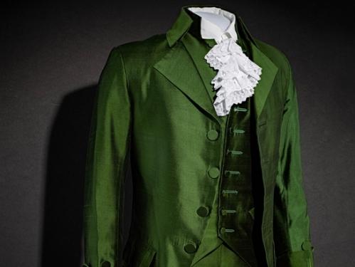 "Green silk costume from musical ""Hamilton"""