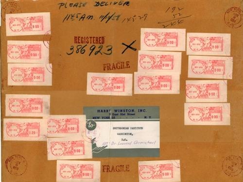 Hope Diamond Mail Wrapper, Postmark: Nov. 8, 1958