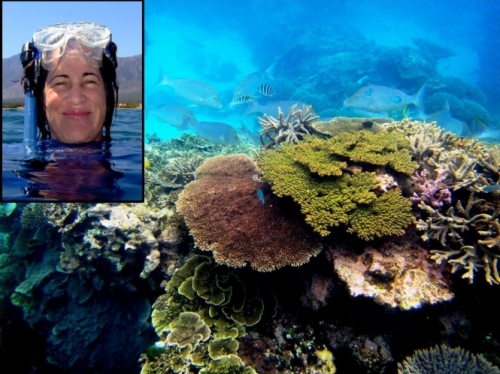 Closeup of Mary Hagedorn in scuba gear superimposed on photo of coral reef
