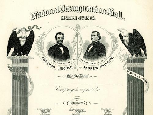 President Lincoln's Inaugural Ball Invitation, 1865