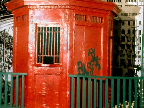 red ticket booth