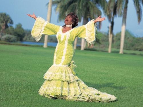 celia cruz in yellow tango dress