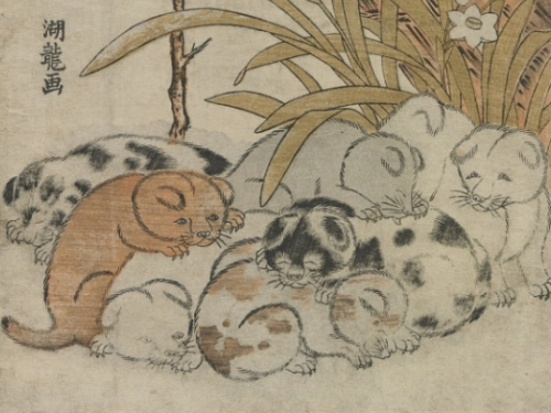 Japanese woodprint of puppies
