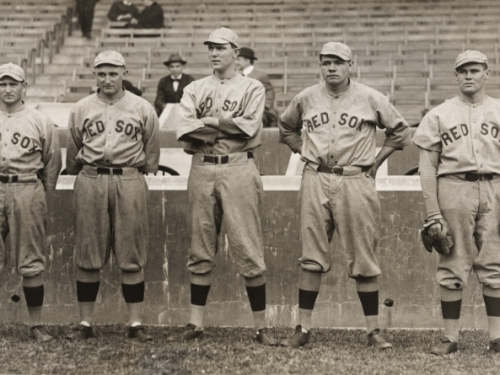 Babe Ruth in Red Sox uniform with other players
