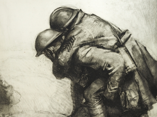 Pencil drawing of one soldier carrying another