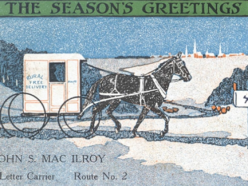 Rural Postal Carrier's Christmas Postcard, 1915