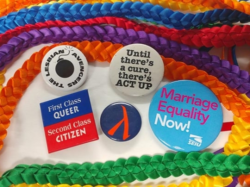 rainbow ribbons and buttons.