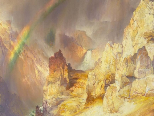 painting of yellowstone landscape with rainbow