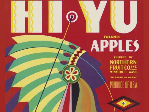 native man in headdress on apple as