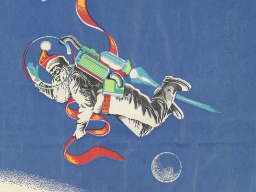 holiday bag with Santa in a space suit