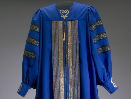 blue robe with gold trim