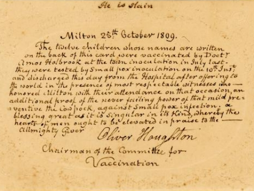 The front of a small card dated October 25 1809