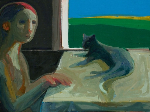 Woman and Cat by Window