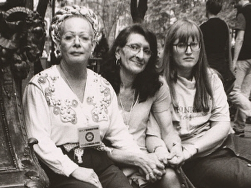 Photograph of Sylvia Rivera with Christina Hayworth and Julia Murray by Luis Carle