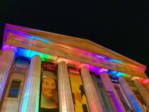 SAAM lit for Pride with rainbow lights in 2018.