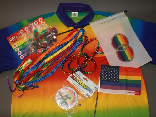 Miscellaneous objects from the museum's collection that feature rainbows