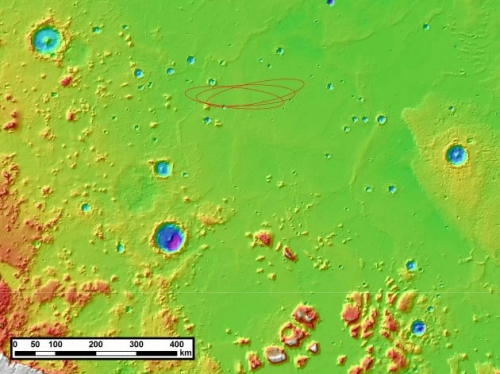 map of Mars' Elysium Planitia