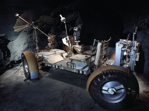 Lunar Roving Vehicle Qualification Test Unit on display in the Apollo to the Moon gallery at the National Mall building.