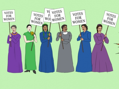 women working for suffrage