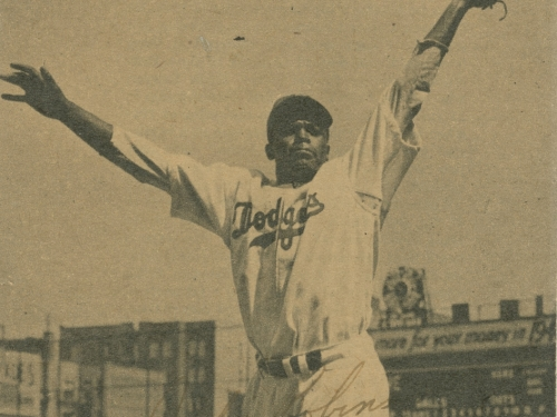 Photomechanical print of Jackie Robinson on Brooklyn Dodgers opening day in 1947