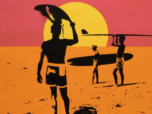 Endless Summer Poster with neon pink and orange graphic of surfer facing a setting sun.