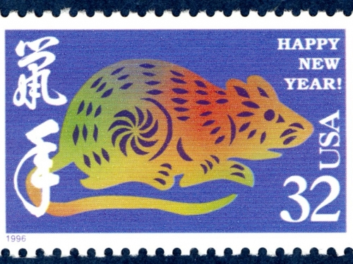 Year of the Rat postage stamp.