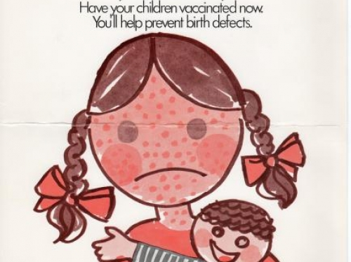 Protect mommies from German measles rubella vaccination campaign poster