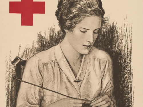 Red Cross poster encouraging knittingn from Library of Congress