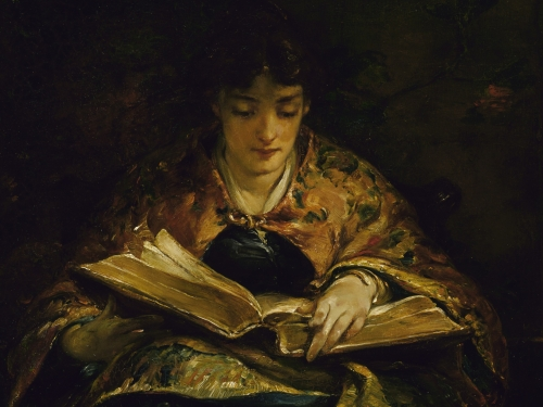 painting of a young woman ready poetry