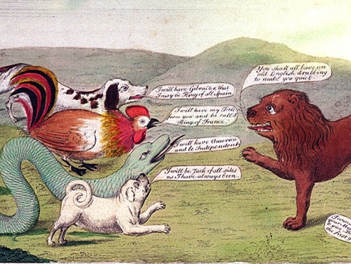 political cartoon with animals representing world powers