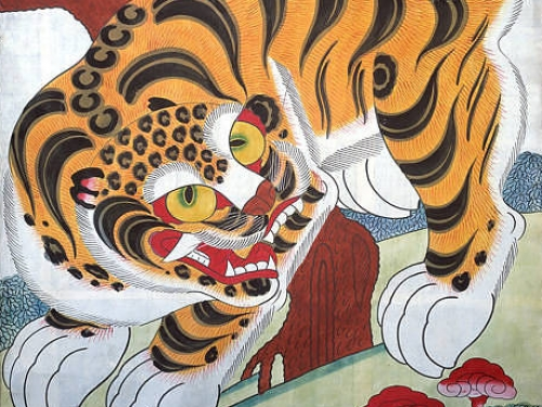 Vivid painting of a tiger and sacred fungus.