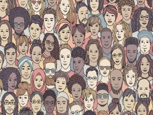 illustration of diverse group of people.