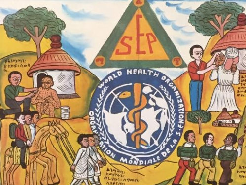 Section of a World Health Organization poster from the 1970s illustrating smallpox eradication activities in Ethopia.