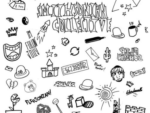 black line art doodles on white album cover