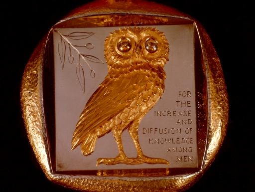 Thick and irregularly shaped medallion with an owl gazing forward.