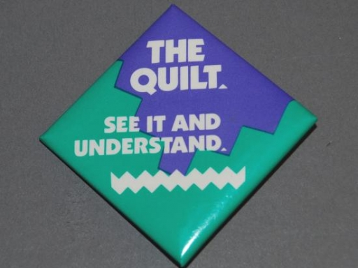 The AIDS Quilt button in the museum's collection