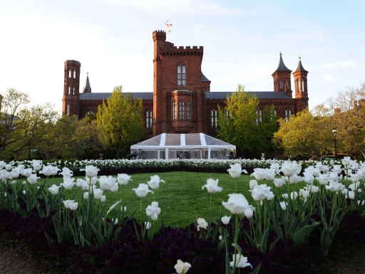 Smithsonian Building with tulips.