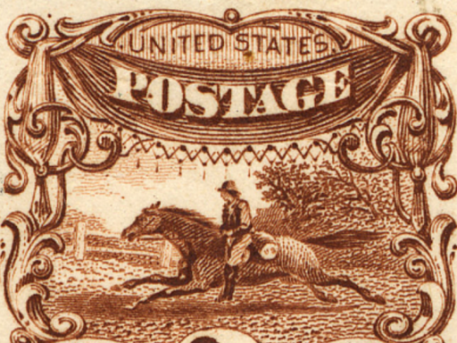 stamp showing pony express
