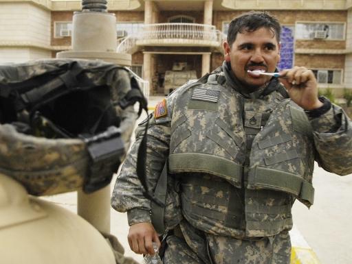 soldier brushing teeth