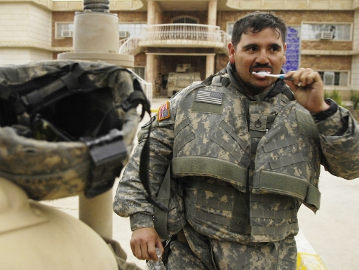 soldier brushing teeth