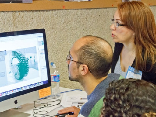 teacher using digital tools.