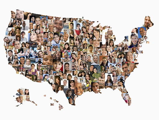 Map of US made out of a collage of diverse people.