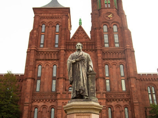 View of Joseph Henry statue in front of the Smithsonian Castle.