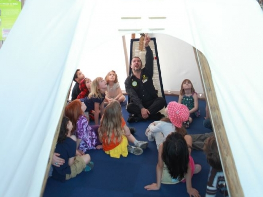 kids in a tipi