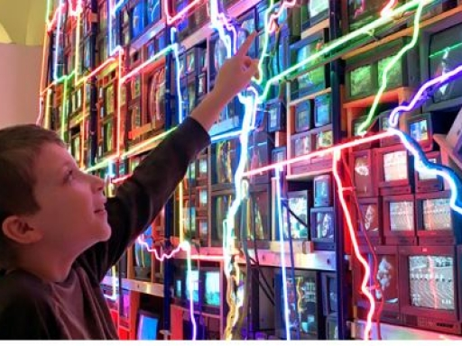 boy looking at video art