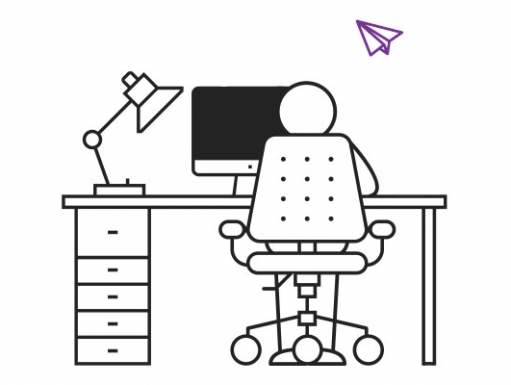 Line drawing of person at desk looking at a computer.
