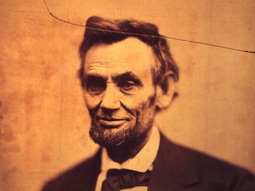 cracked-plate image of Abraham Lincoln, taken by Alexander Gardner on February 5, 1865
