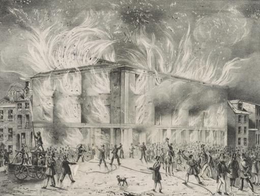 illustration of a burning building