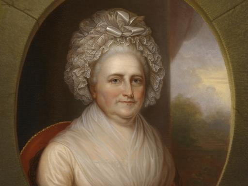 Martha Washington in lace cap.